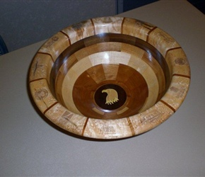 SEGMENTED BOWL FOR WOUNDED SOILDERS CHARITY MADE BY ED DEHART, SKIP BANKS, CHARLEY MURRY, LARNIE CROSS, TOM MILLER