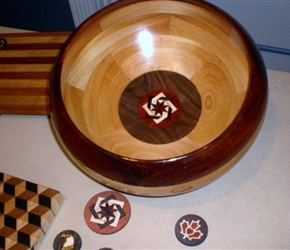 SEGMENTED BOWL WITH FANCY INSERT ON BOTTOM BY  ANDY MCTEAR