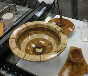 SEGMENTED EAGLE BOTTOMED BOWL BY ED DEHAR