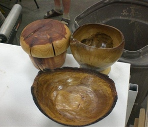 TWO NATURAL EDGED BOWLS AND A MUSHROOM BOX BY JERRY CZARN
