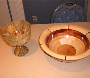 SEGMENTED BOWL AND CHALICE OUT OF NORFOLK ISLAND PINE BY AIME BROCHU