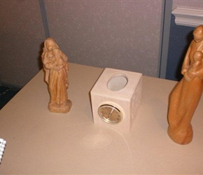 MOTHER AND CHILD CARVINGS AND CLOCK KLEENEX DISPENSER