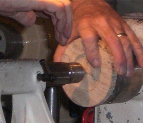 13 SMALL HOLE BEING DRILLED INTO CENTER OF BAS.jpg