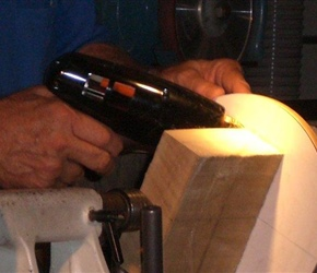02 GLUEING MAPLE BLOCK ON BACKING PLATE TO DRILL HOLE .jpg