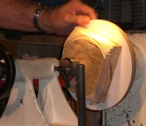 03 CENTERING BLOCK ON BACKING PLATE TO TURN HALF OF DO NUT .jpg